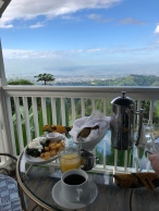 Breakfast in cabin at Strawberry Hill